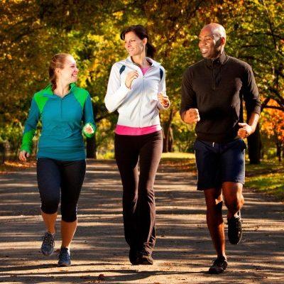 Three people on an afternoon jog